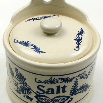 Salt Crock / Cream With Blue Salt Design