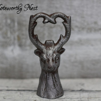Custom Color Iron deer bottle opener / Unique gift bottle opener / hand held bottle opener / hunting cabin decor / groomsmen / gifts for him