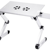 """Pwr+ Portable Laptop-Table-Stand with Mouse Pad Fully Adjustable-Ergonomic Mount-Ultrabook-Macbook Light Weight Aluminum-Silver Bed Tray Desk Book Fans Up to 17"""""""