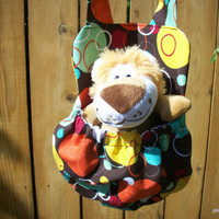 Bubbles and Circles Stuffed Animal Carrier Includes Plush Lion Toy Great Gift for Kids Snack Water Bottle Carrier Too