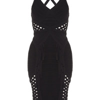 COSMO - Black Bodycon Dress with Lattice and Fringing Detail