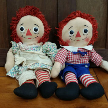"Vintage Knickerbocker Raggedy Ann and Andy Dolls 16"" With I Love You Heart Stamp Great Nostalgic Vintage Nursery Decor"