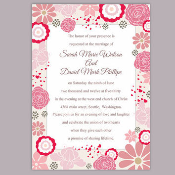 DIY Wedding Invitation Template Editable Word File Instant Download Pink Wedding Invitation Coral Floral Invitation Printable Invitation