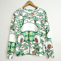 Stoner Snorlax Pokemon Print Sweater