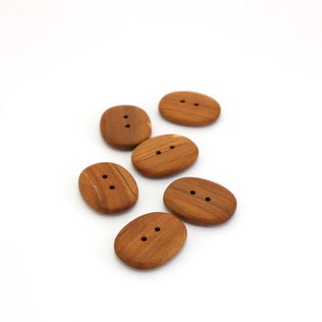 Oval applewood buttons - 1 in (26mm) - Set of 6 natural handmade buttons