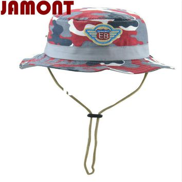 [JAMONT]Cotton Camouflage children hat kids summer bucket hat with string wide brim caom fishing cap for baby girl boy panama