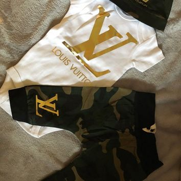 Baby Inspired Gold Louis Vuitton Camoflauge Pant Set with Onesuit/Hat and headband