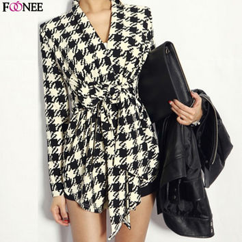 Spring Autumn Women Long Sleeves Houndstooth Pattern Coat Outwear Jacket And Winter Women's Long Sleeve Jacket Women Wool Coat