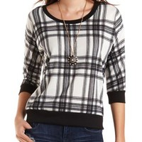 Plaid Three-Quarter Sleeve Pullover by Charlotte Russe - Ivory Combo