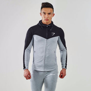 2016 Gymshark Hoodies new brand hoodies men sweatshirt belt patchwork full sleeve assassins creed man hoodies tracksuits