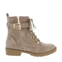 Side Zipper Buckled Combat Boot