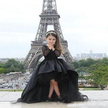 Black Front Short Long Back Ball Gown Flower Girl Dresses 2016 High Low Pageant Dresses For Little Girls Kids Evening Gowns