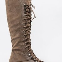 Breckelle's GEORGIA-35 / Soda WATER Knee High Lace Up Military Combat Boot