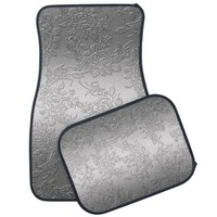 Embossed Polished Silver Roses and Tulips Floor Mat