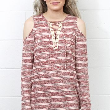 Striped Cold Shoulder Knit w/ Lace Up Neckline {Burgundy}