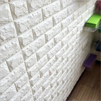 New PE Foam 3D DIY Stone Brick Wall Stickers Home Decor 39*77cm Poster Wallpaper For Living Room Kitchen Self-Adhesive Art Mural