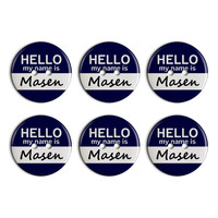 Masen Hello My Name Is Plastic Resin Button Set of 6