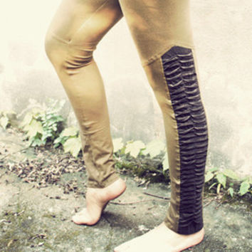 SALE!!! REPTILE LEGGINGS • brown • with studs • festival tribal gypsy boho alternative edgy pixie • burning man