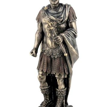 Gaius Julius Caesar in Roman Military Uniform Statue, Bronze Finish 10.25H