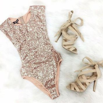 2017 Summer Sequined Sexy Bodysuit For Women Beach Casual Tight Body Femme Solid Color Catsuit Fashion Hot Sale Bodysuit TT2422