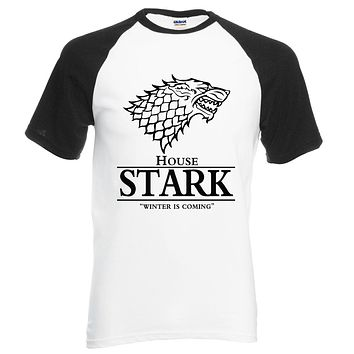 hot sale Game of Thrones raglan tee House Stark letters Winter Is Coming t shirt 2017 summer hot sale 100% cotton top tees S-2XL