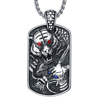 Stainless Steel Gothic Tiger and Dragon Blue and Red Crystal Pendant Necklace