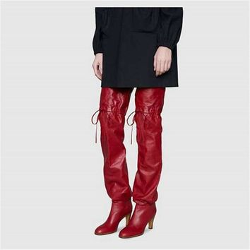 Autumn Stovepipe Cowboy Woman Boot Butterfly knot Fashion Red Thigh High Boots Super Thin Heel Motorcycle Overknee Shoes Women