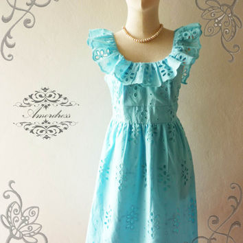 Last one--Amor Vintage Inspired Butterfly Pastel Blue Lace Dress Wedding Prom Party Dress for Any Occasion - Size XS-S-