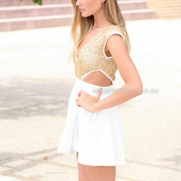 PRE ORDER - WILDFIRE DRESS (Expected Delivery 30th June, 2014) , DRESSES, TOPS, BOTTOMS, JACKETS & JUMPERS, ACCESSORIES, 50% OFF SALE, PRE ORDER, NEW ARRIVALS, PLAYSUIT, COLOUR, GIFT VOUCHER,,White,CUT OUT,Sequin,Gold,SLEEVELESS,MINI Australia, Queensland,