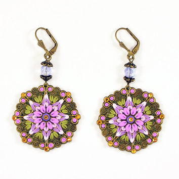NEW!- Pink Purple Earrings Applique Polymer clay jewelry Romantic Jewelry Oriental Jewelry bright ornament