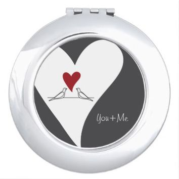Cute White Doves in Love Personalized Round Compact Purse Mirror Gifts for Her: You & Me: Unique Wedding Gift