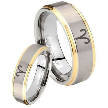 His Hers Step Edge Aries Zodiac 14K Gold 2 Tone Tungsten Wedding Rings Set