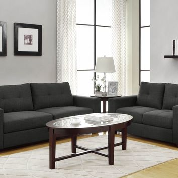 Home Elegance 9639 2 pc ashmont collection squared arm dark grey linen fabric upholstered sofa and love seat set