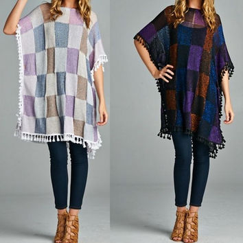 Eliza Bella Beautiful Bohemian Hippie Chick Checkered Poncho One Size