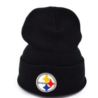 Perfect Pittsburgh Steelers Women Men Embroidery Beanies Winter Knit Hat Cap