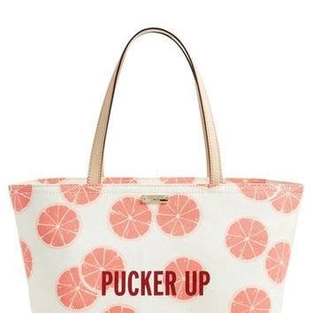 kate spade new york 'pucker up francis' canvas tote | Nordstrom