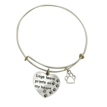 """""""Dogs Leave Paw Prints on my Heart"""" Hand Stamped Charm Wire Bracelet"""