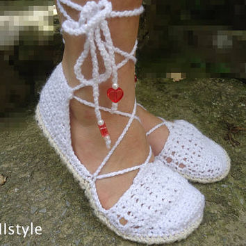 Women Summer Shoes, Women Sandals, Crochet Sandalet, Women Crochet Shoes, Handmade Sandals, Beach Shoes, White Women's Shoes, Girl Sandalet