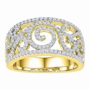 10kt Yellow Gold Womens Round Diamond Swirl Filigree Band Ring 5/8 Cttw - FREE Shipping (US/CAN)