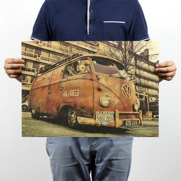 Vintage Poster roadside Volkswagen nostalgic kraft paper poster bar coffee bar decorated 51x35.5cm