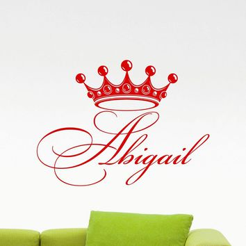 Personalized Girl Name Wall Vinyl Decal Diadem Crown Princess Custom Name Monogram Mirror Sticker Home Kids Nursery Mural Art Decor Made in US