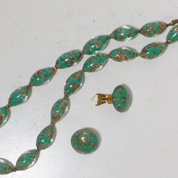 Green Choker Necklace, Matching Clip On Earrings, Gold Foil Lampwork, Glass Crystal Beads, Barrel Beads, Vintage Costume Jewelry, 17 1/2""