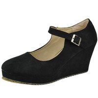 Womens Platform Shoes Casual Suede Closed Toe Mary Jane Wedges Black SZ