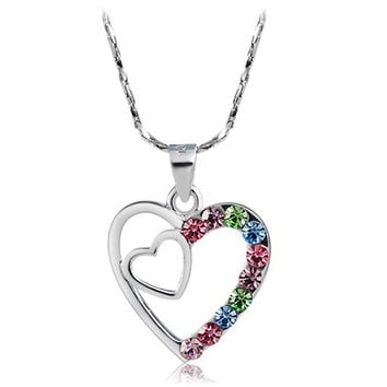 Rigant Colorful Crystal Decorated Heart-to-Heart Pendant Necklace