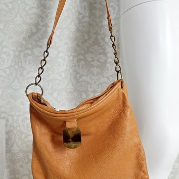Vintage 1970s Caramel + Leather Chain Link Bag