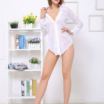 White Long Sleeve Sleepwear Nighty