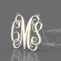 Customize jewelry bold monogram name initial necklace anniversary gift for mum and sister