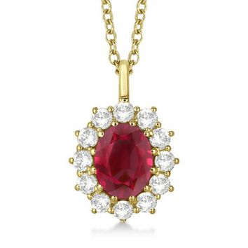 14k Yellow Gold Oval Ruby and Diamond Pendant Necklace 14k Yellow Gold 3.60ctw