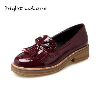 Ladies Casual Flats Loafers Shoes Fashion Patent Leather Round Toe Women's Flats Size 34-43 New England Women Oxfords