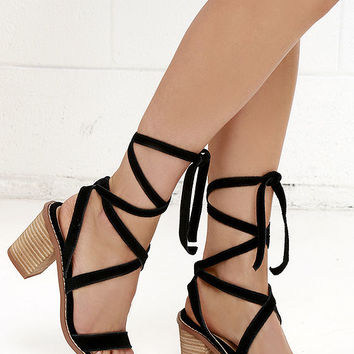 Chinese Laundry Calvary Black Suede Leather Lace-Up Sandals